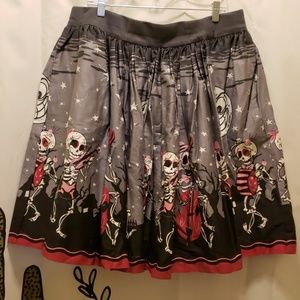 Pinup Girl clothing Skeleton Band skirt